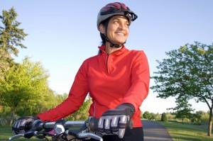 wearing bike helmet